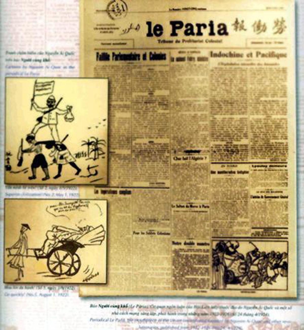 Báo Người cùng khổ và tranh châm biếm của báo do nhà cách mạng Nguyễn Ái Quốc vẽ.