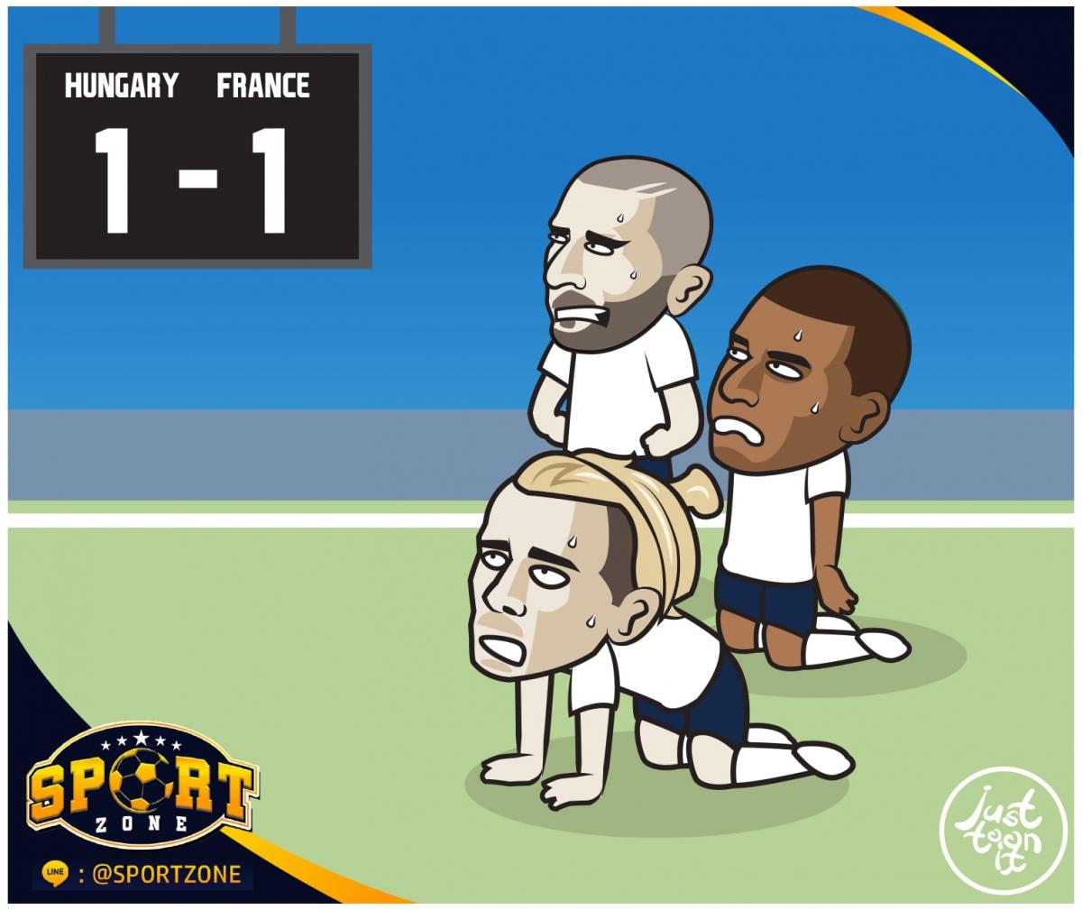 Pháp chật vật giành 1 điểm trước Hungary. (Ảnh: Just Toon It)