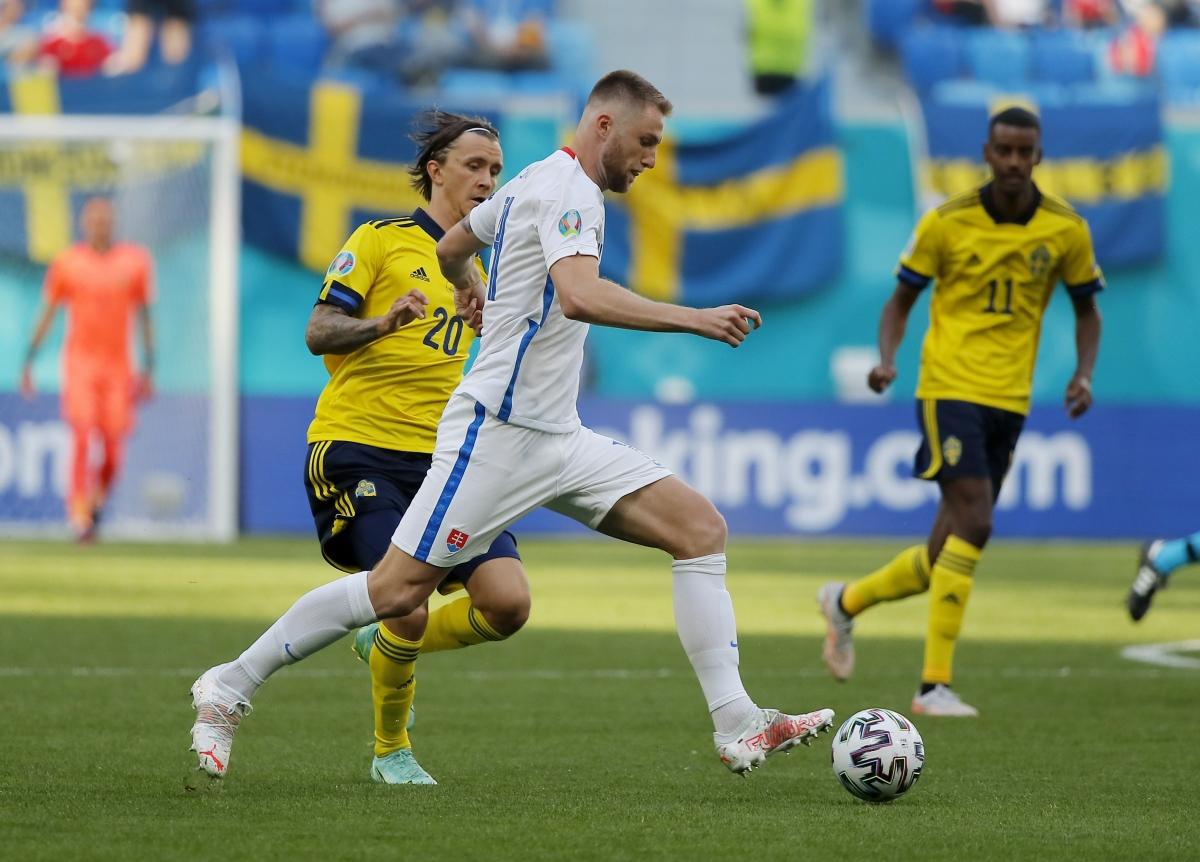 Slovakia thi đấu khởi sắc ở cuối hiệp 1 nhưng vẫn chưa thể làm khó Thụy Điển. (Ảnh: Reuters)
