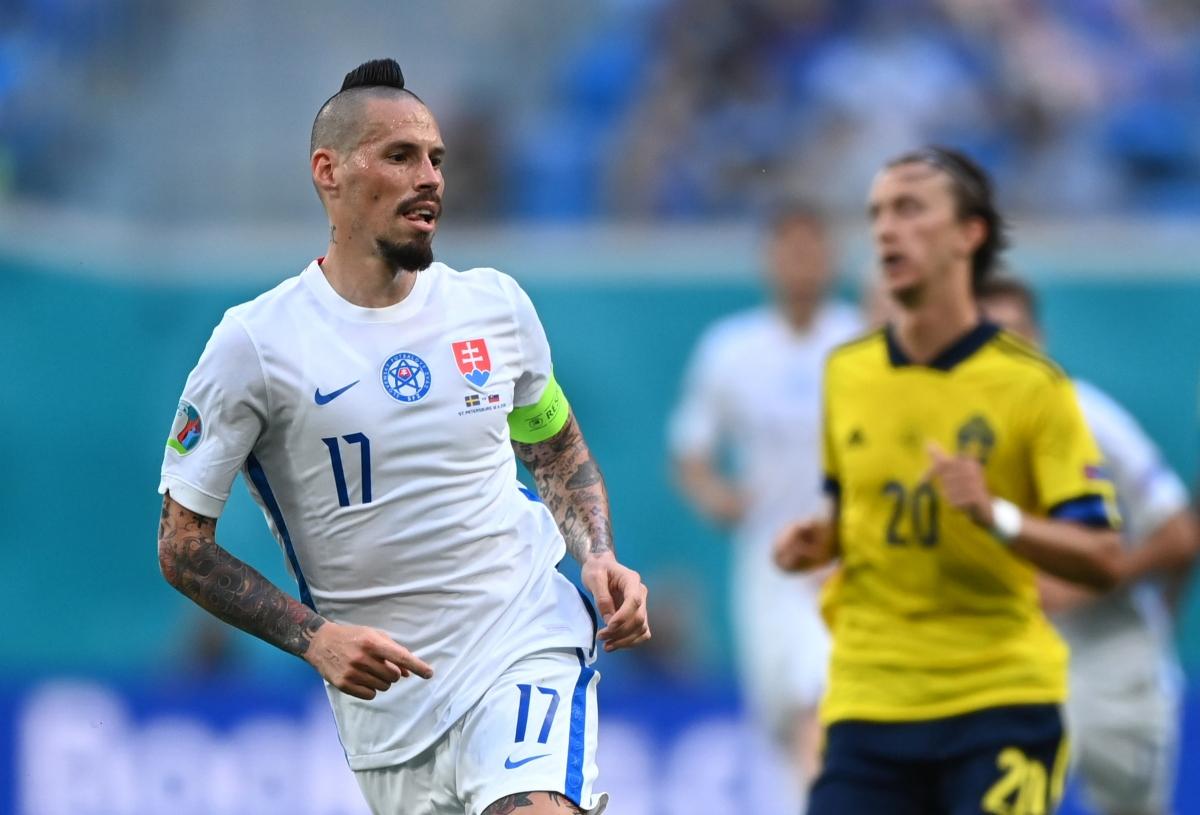 Hamsik vẫn chưa có bàn thắng ở EURO 2021. (Ảnh: Reuters)