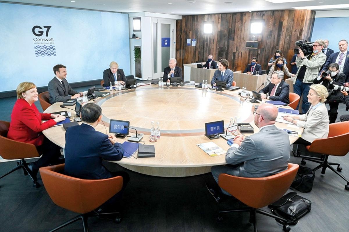 Các nhà lãnh đạo tại Hội nghị thượng đỉnh G7, diễn ra ở Anh từ ngày 11 đến 13/6. Ảnh: Reuters