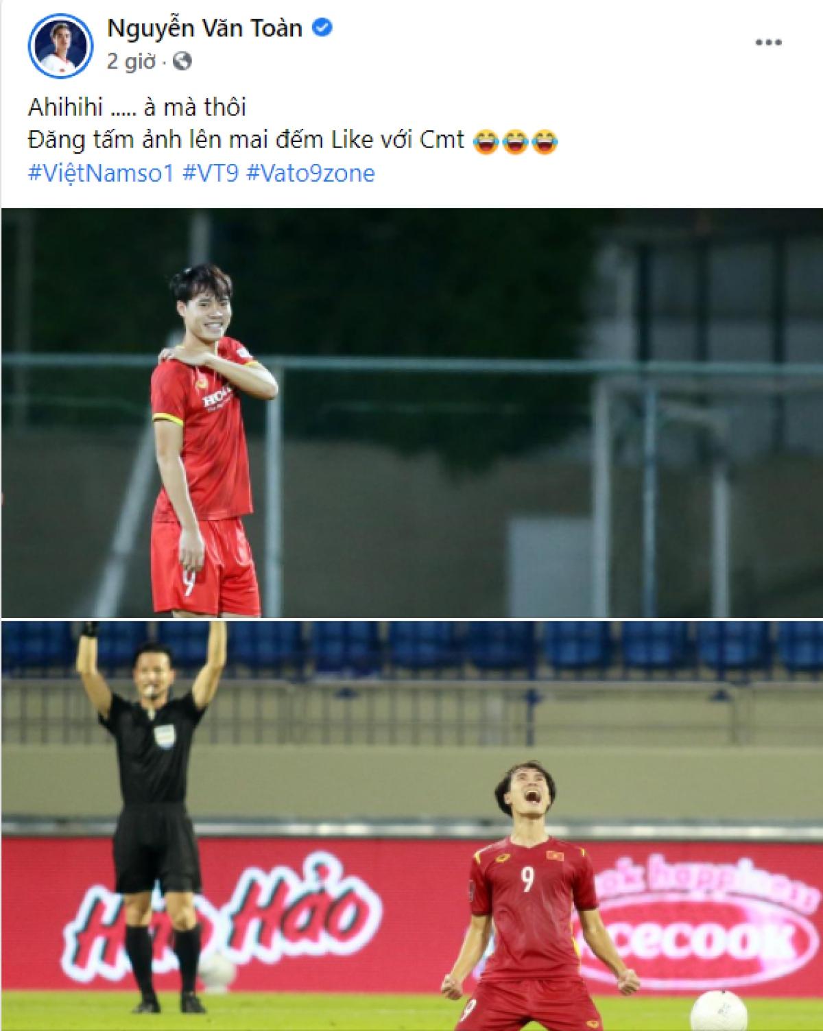 """Văn Toàn ăn mừng chiến thắng theo cách """"đặc biệt""""./."""