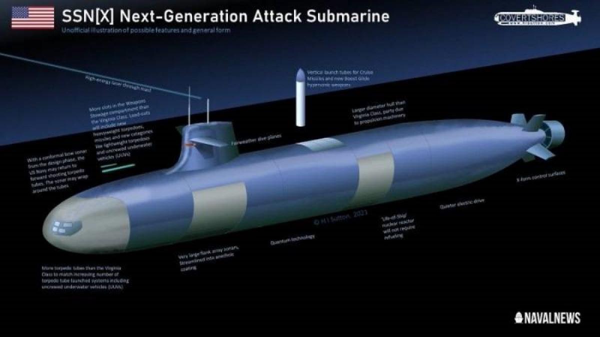 Thiết kế và nhiệm vụ của SSN (X) sẽ những điểm khác và yêu cầu cao hơn lớp Virginia; Nguồn: topwar.ru