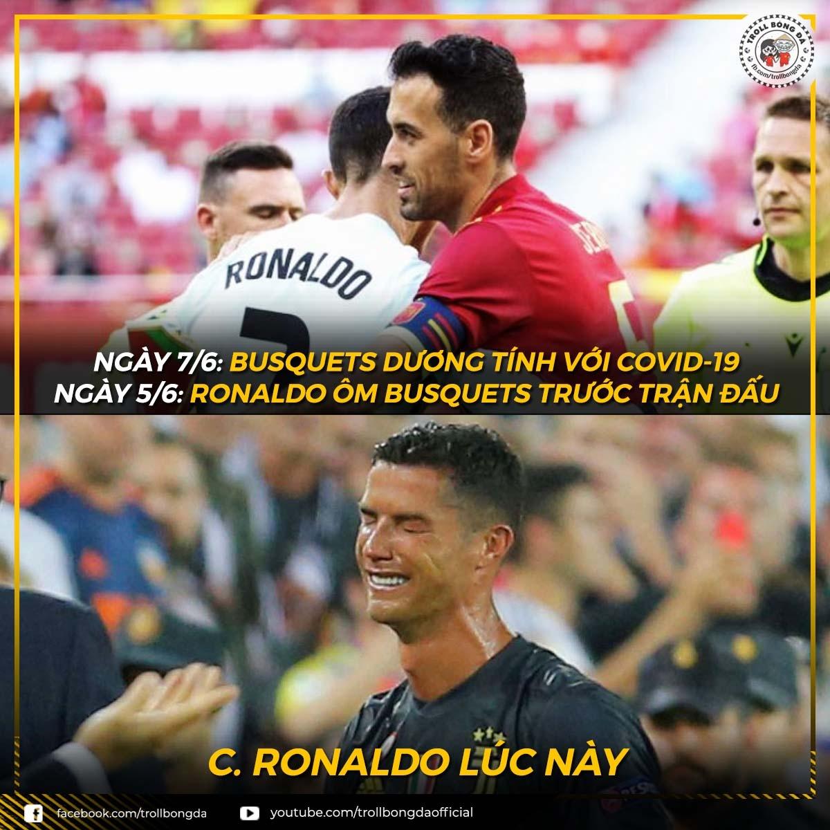 Ronaldo đang lo lắng vì Busquets mắc Covid-19.