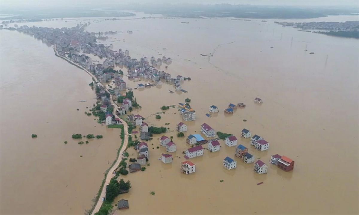 Một trận lũ lụt tại tỉnh Giang Tây, Trung Quốc năm 2020. Ảnh: CGTN.