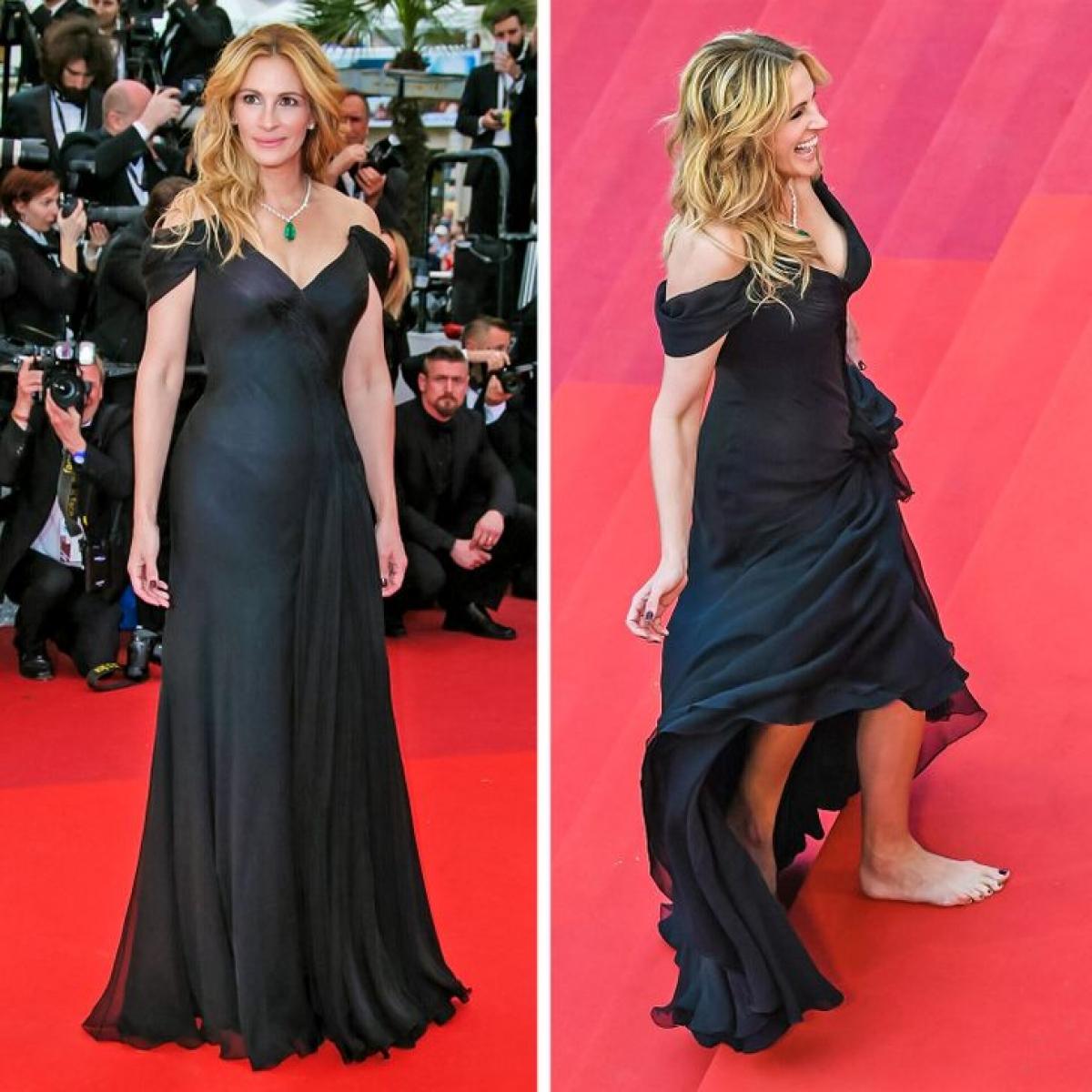 Năm 2016, Julia Roberts đến thảm đỏ Liên hoan phim Cannes với chiếc váy dài che kín chân.Nhưng khi cô ấy bắt đầu đi lên cầu thang, mọi người có thể thấy rằng nữ diễn viên không mang giày.Điều đáng nói là ngay cả những đôi giày bệt cũngkhông được khuyến khích, theo quy định của liên hoan phim.