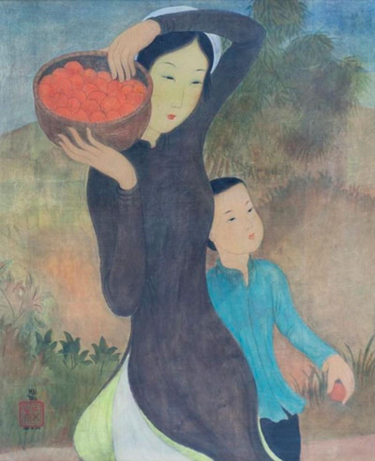 The artwork Mère et Enfant, panier de fruits (Mother and Child, fruit basket) by Mai Trung Thu. Photo courtesy of the exhibition.