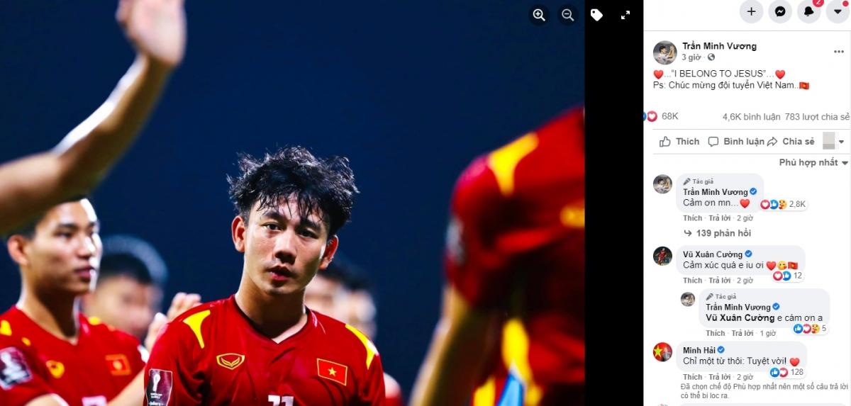 Minh Vương chơi rất hay ở trận đấu với UAE.