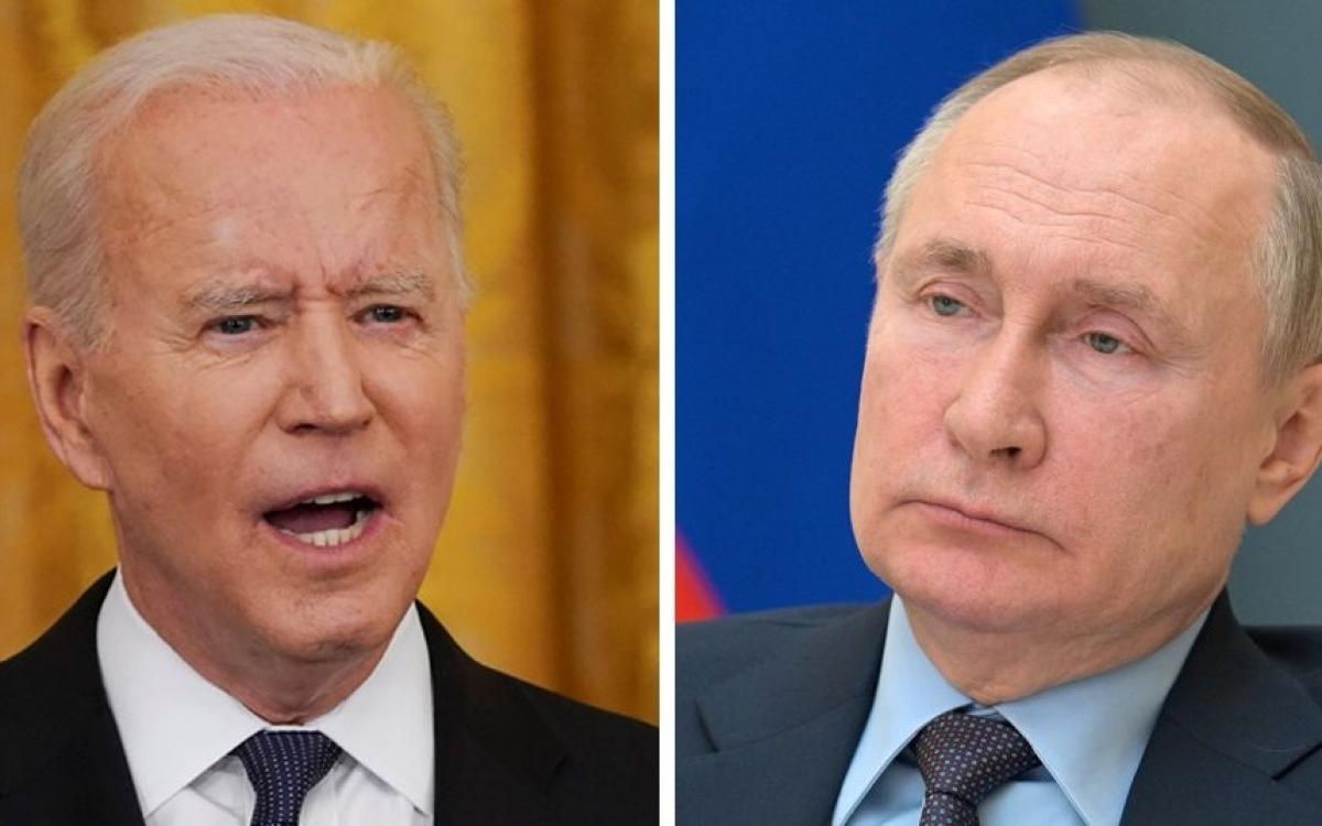 Tổng thống Mỹ Biden (trái) và người đồng cấp Nga Putin. Ảnh: BBC.