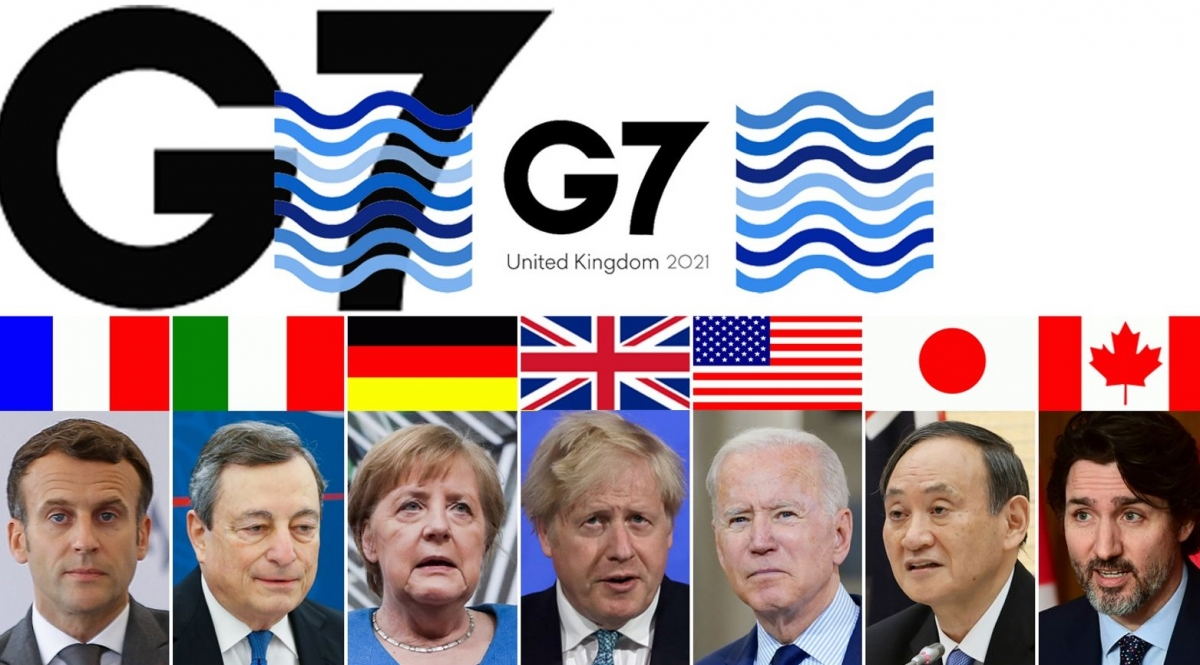 Lãnh đạo các nước G7 năm 2021. Ảnh: Sky News.