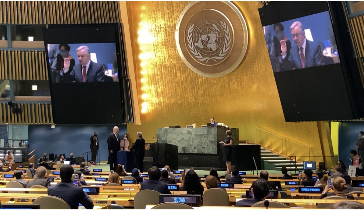 Tổng Thư ký Liên Hợp Quốc Antonio Guterres tuyên thệ nhậm chức nhiệm kỳ mới.