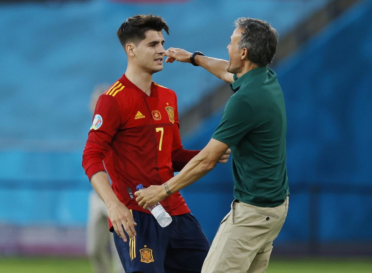 Morata ghi bàn thắng sau khi phải nhận rất nhiều lời chỉ trích ở trận gặpThụy Điển (Ảnh: Reuters).