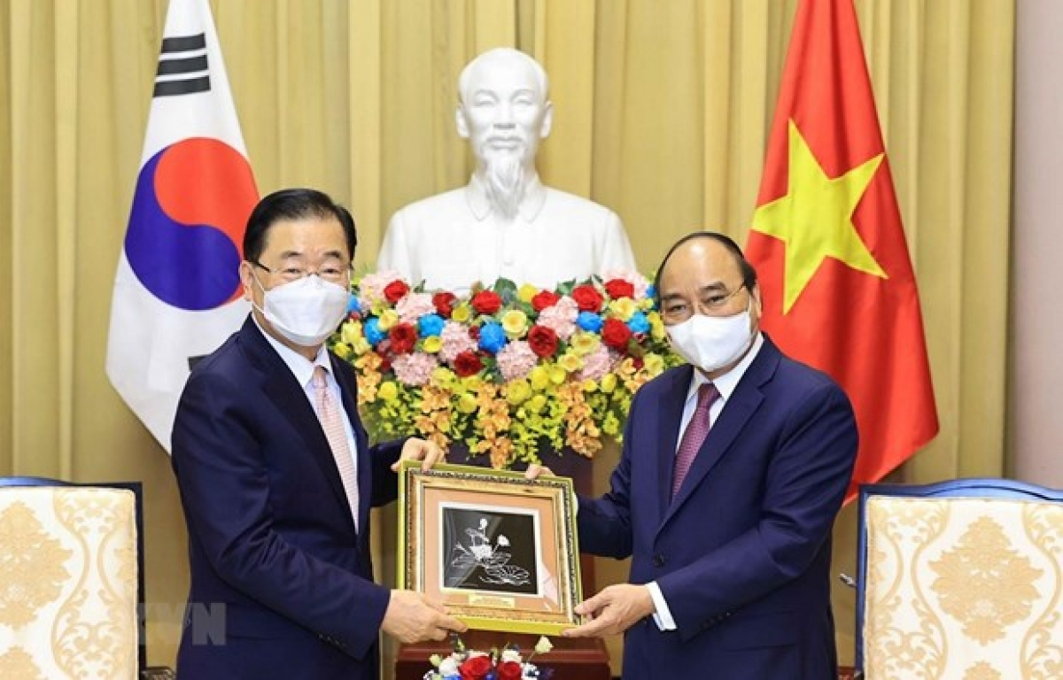 State President Nguyen Xuan Phuc (R) welcomes RoK Foreign Minister Chung Eui-yong in Hanoi on June 23. (Photo: VNA)