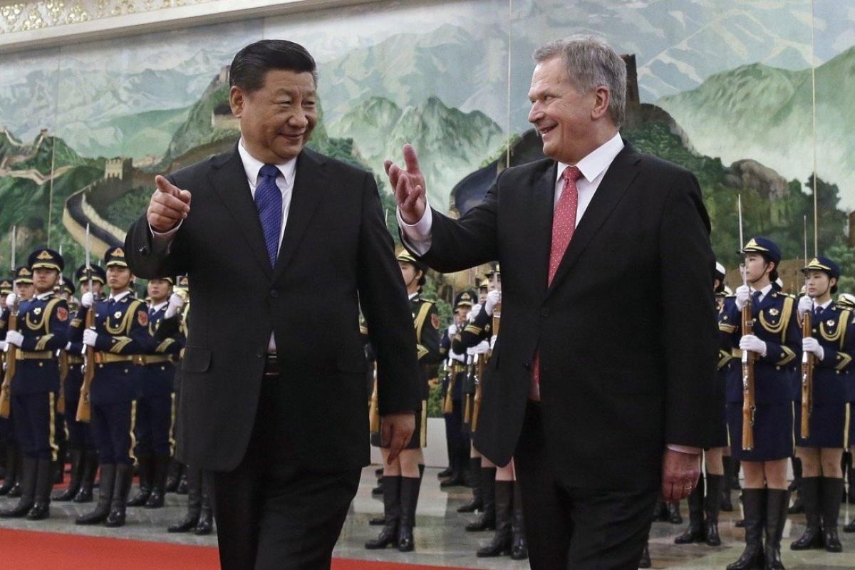 Chủ tịch Trung Quốc Tập Cận Bình và Tổng thống Phần Lan Sauli Niinisto. Ảnh: AP