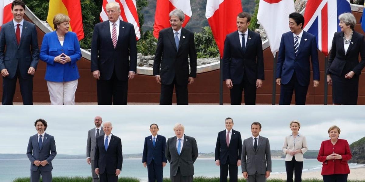 Bức ảnh tập thể Thượng đỉnh G7 năm 2017 và năm 2021. Ảnh: AP