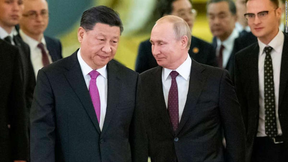 Chủ tịch Trung Quốc Tập Cận Bình và Tổng thống Nga Vladimir Putin. Ảnh: AP