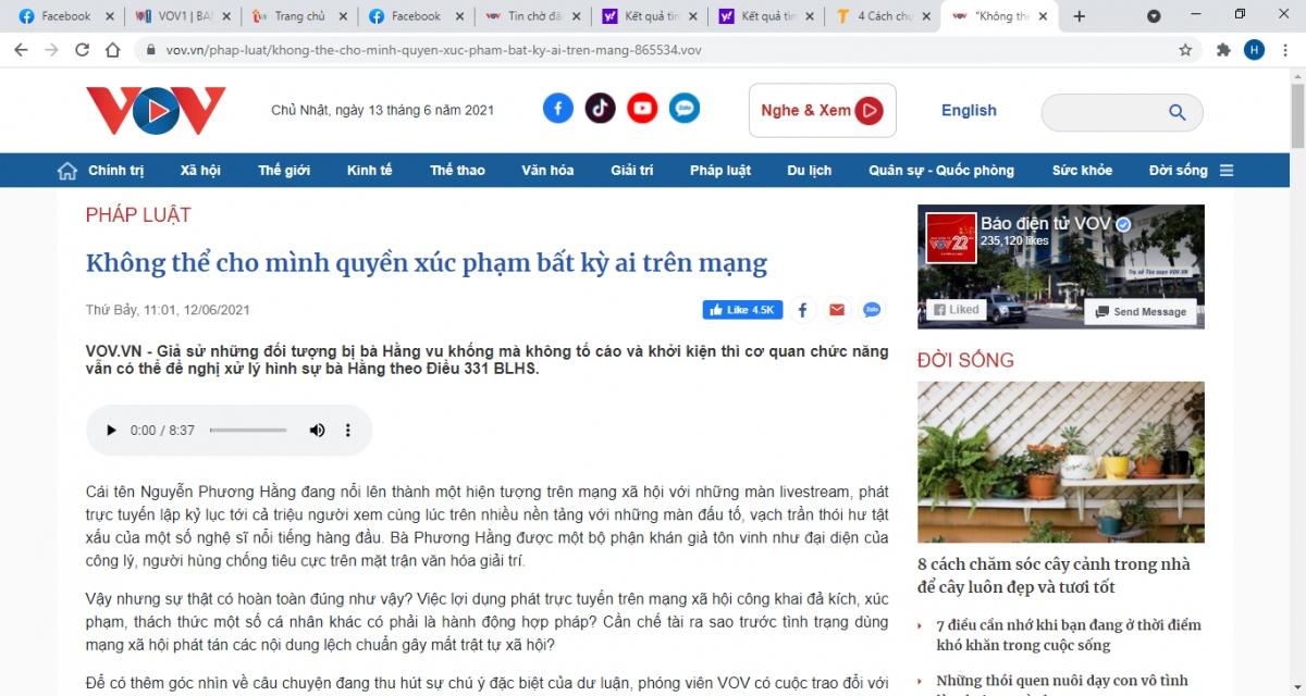 Bài viết đăng tải trên Báo Điện tử VOV ngày 12/6/2021