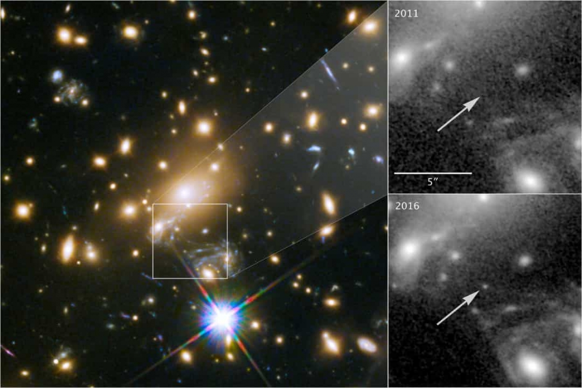 Kính thiên văn Hubble đã ghi lại được một ngôi sao màu xanh khổng lồ được gọi là Icarus - ngôi sao xa nhất mà con người từng thấy. Những hình ảnh trên cho thấy ngôi sao dần trở nên sáng hơn qua thời gian.
