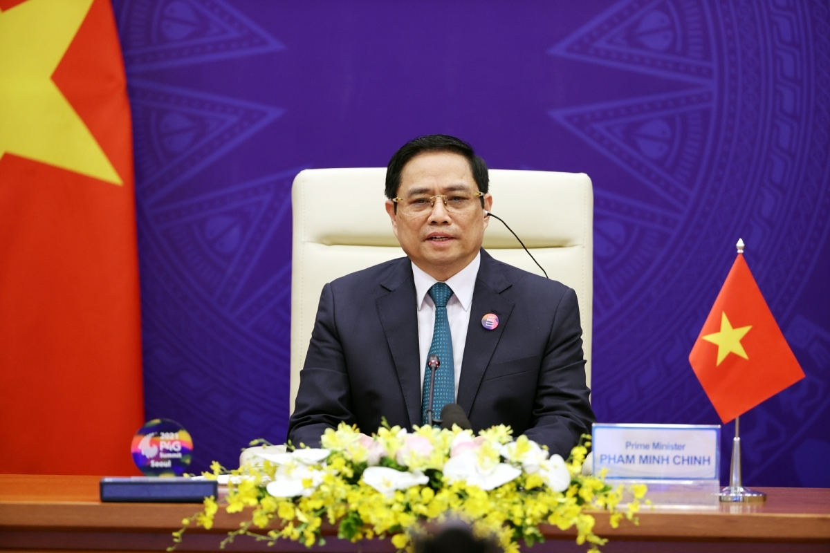 Thủ tướng Chính phủ Phạm Minh Chính phát biểu tại Hội nghị thượng đỉnh Đối tác vì tăng trưởng xanh và mục tiêu toàn cầu (P4G).