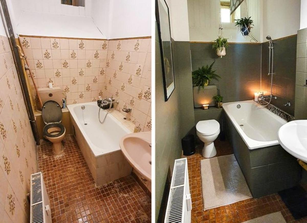 Trước và sau là thành quả của sự nỗ lực khi lần đầu tân trang lại phòng tắm.
