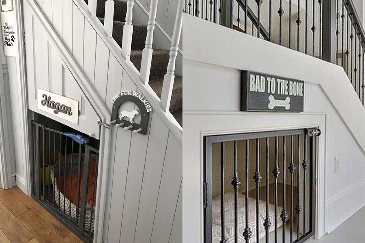 Ngôi nhà đáng yêu của thú cưng: Nếu nhà có nhiều vật nuôi và mong muốn được gần gũi chúng thì gầm cầu thang sẽ là một ngôi nhà vô cùng đáng yêu của chúng.