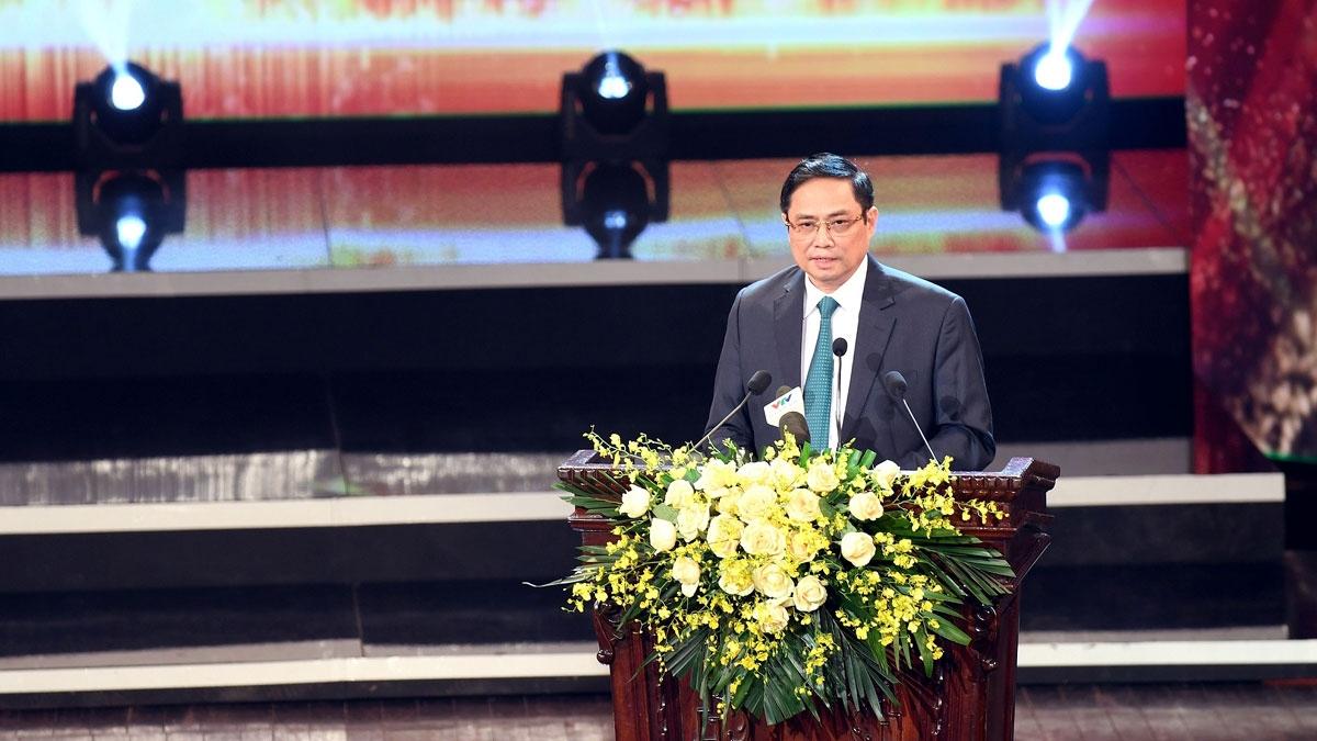 Thủ tướng Chính phủ Phạm Minh Chính phát biểu tại buổi lễ.(Ảnh: Đỗ Hà)