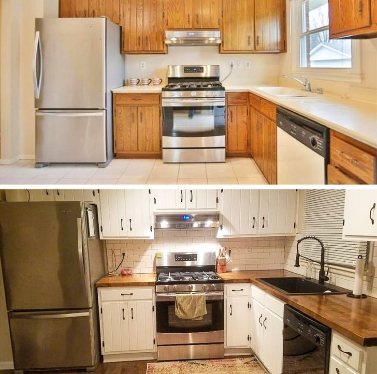 Màn đảo ngược màu sắc trong căn bếp tạo nên một không gian hoàn toàn mới lạ.