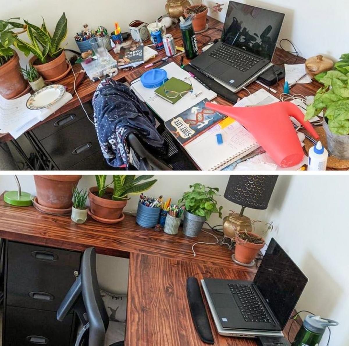"""Tôi đã dọn dẹp góc làm việc của mình và nó đã """"biến"""" thành một không gian mới lạ."""