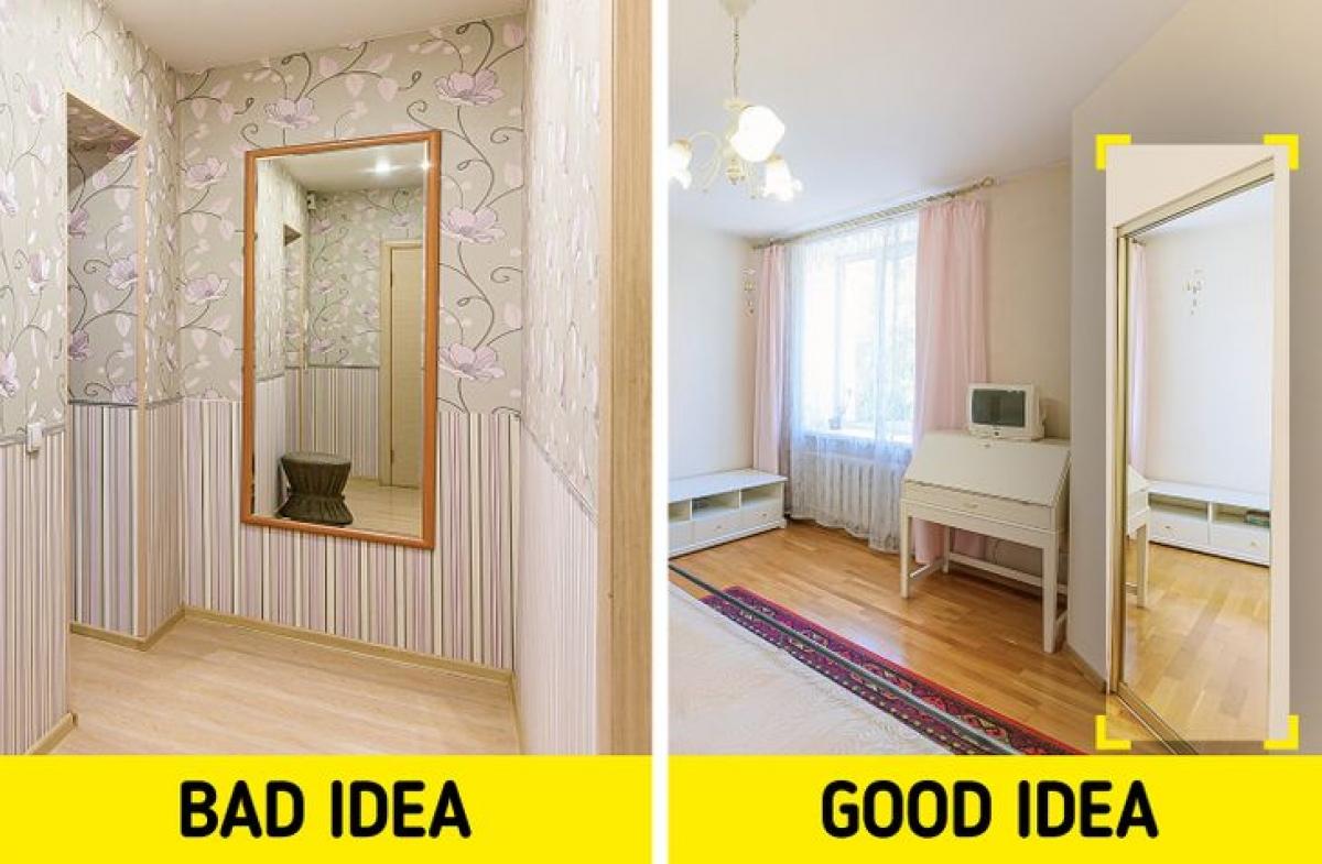 Gương nhỏ: Gương to mới giúp căn phòng trông rộng hơn rất nhiều. Ngoài ra, treo gương trước cửa sổ có thể phản chiếu nhiều ánh sáng hơn.