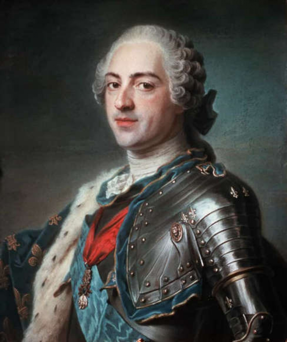 Vua Louis XV.Louis XV giữ tước hiệuVua của Pháptừ1/9/1715cho đến khi ông qua đời năm1774.Thời gian cai trị của ông kéo dài 58 năm, đứng thứ hai trong lịch sử của Pháp chỉ sau Vua Louis XIV.