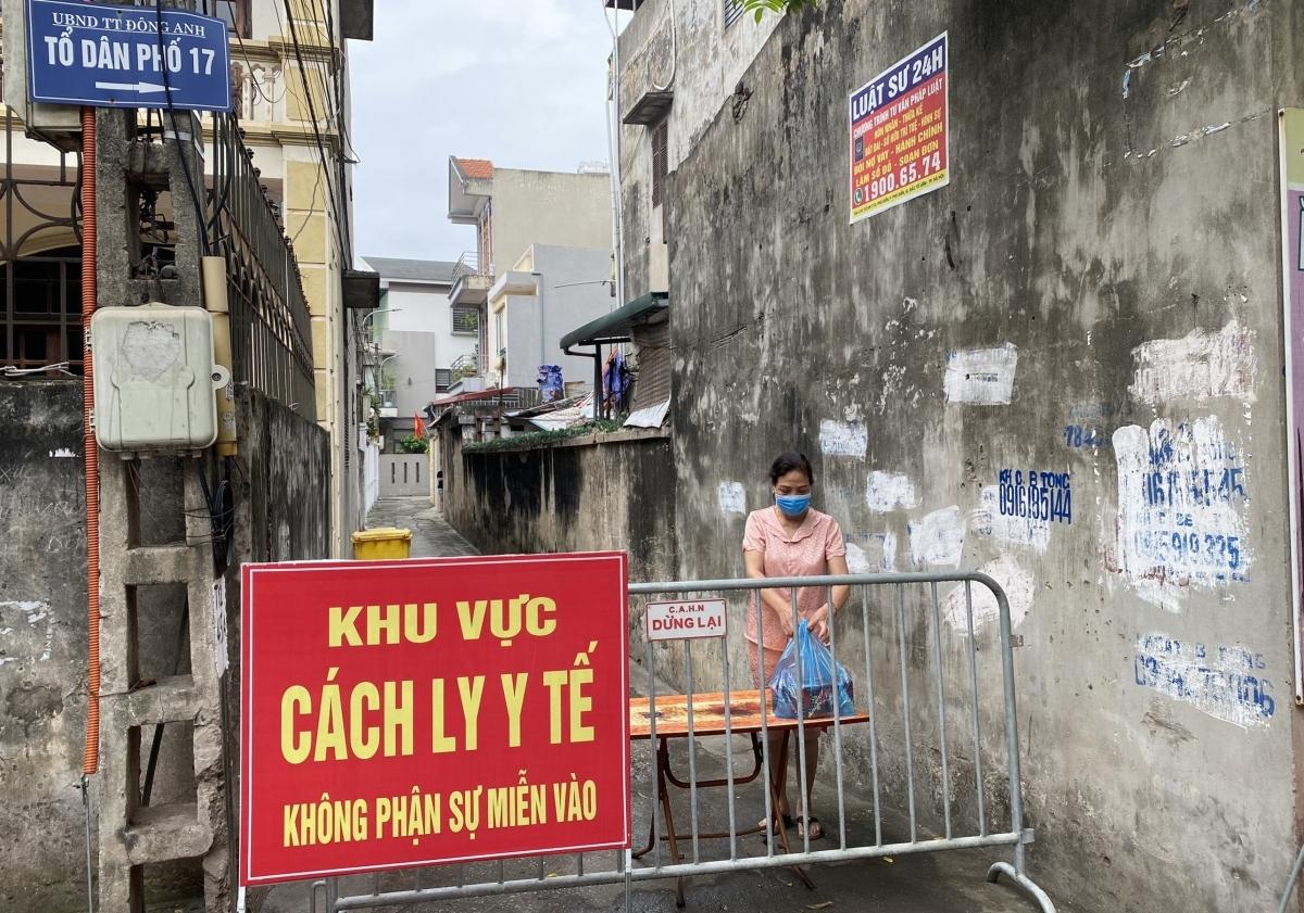 Khu vực tổ 17, Thị trấn Đông Anh, Đông Anh, TP Hà Nội - nơi ở của BN8853 được phong tỏa phòng dịch.