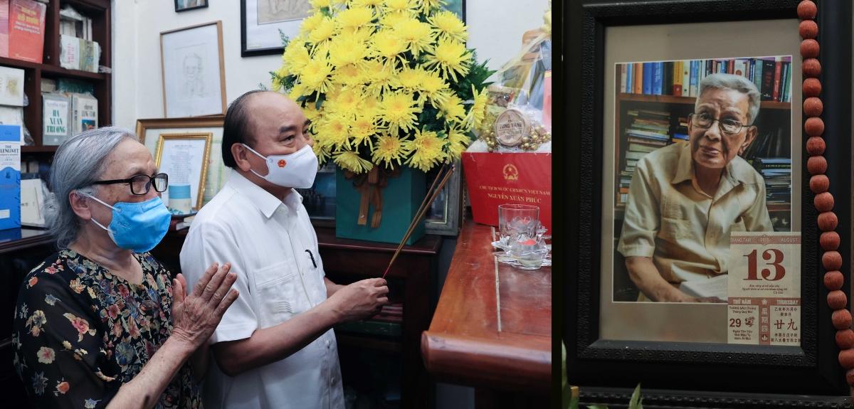 Chủ tịch nước Nguyễn Xuân Phúc tới thăm gia đình cố Nhà báo Hữu Thọ.