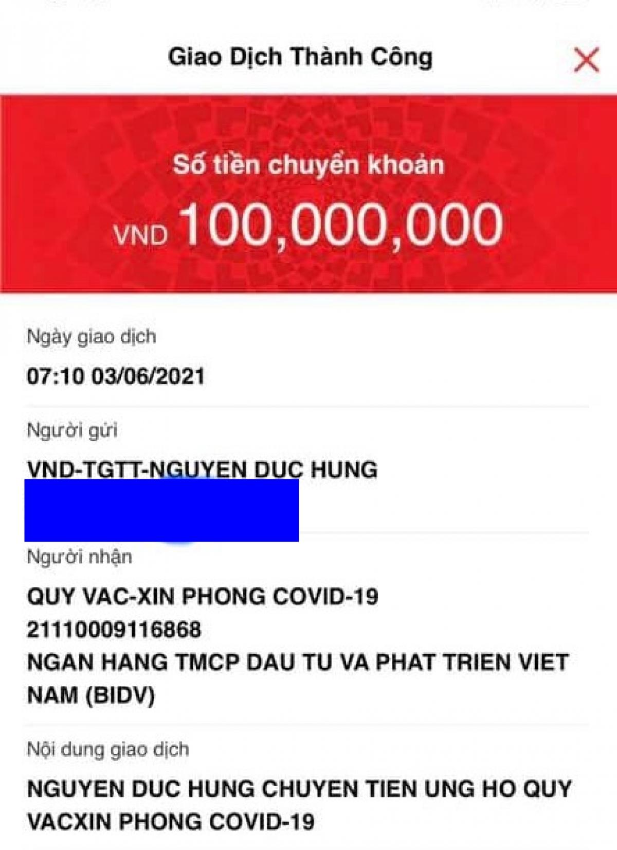 100 triệu đã được chuyển vào Quỹ Vaccine phòngCOVID-19 trong ngày sinh nhật con trai anh Đức Hùng.