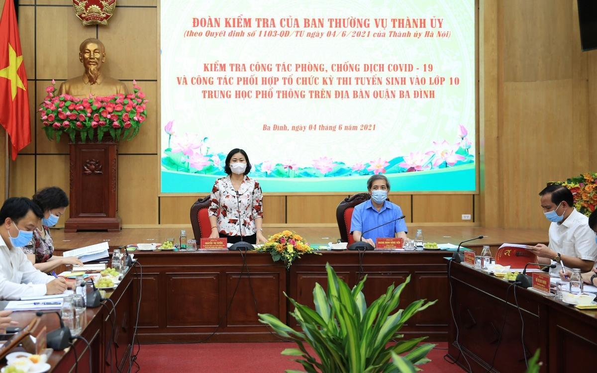 Phó Bí thư Thường trực Thành ủy Nguyễn Thị Tuyến phát biểu kết luận buổi làm việc.