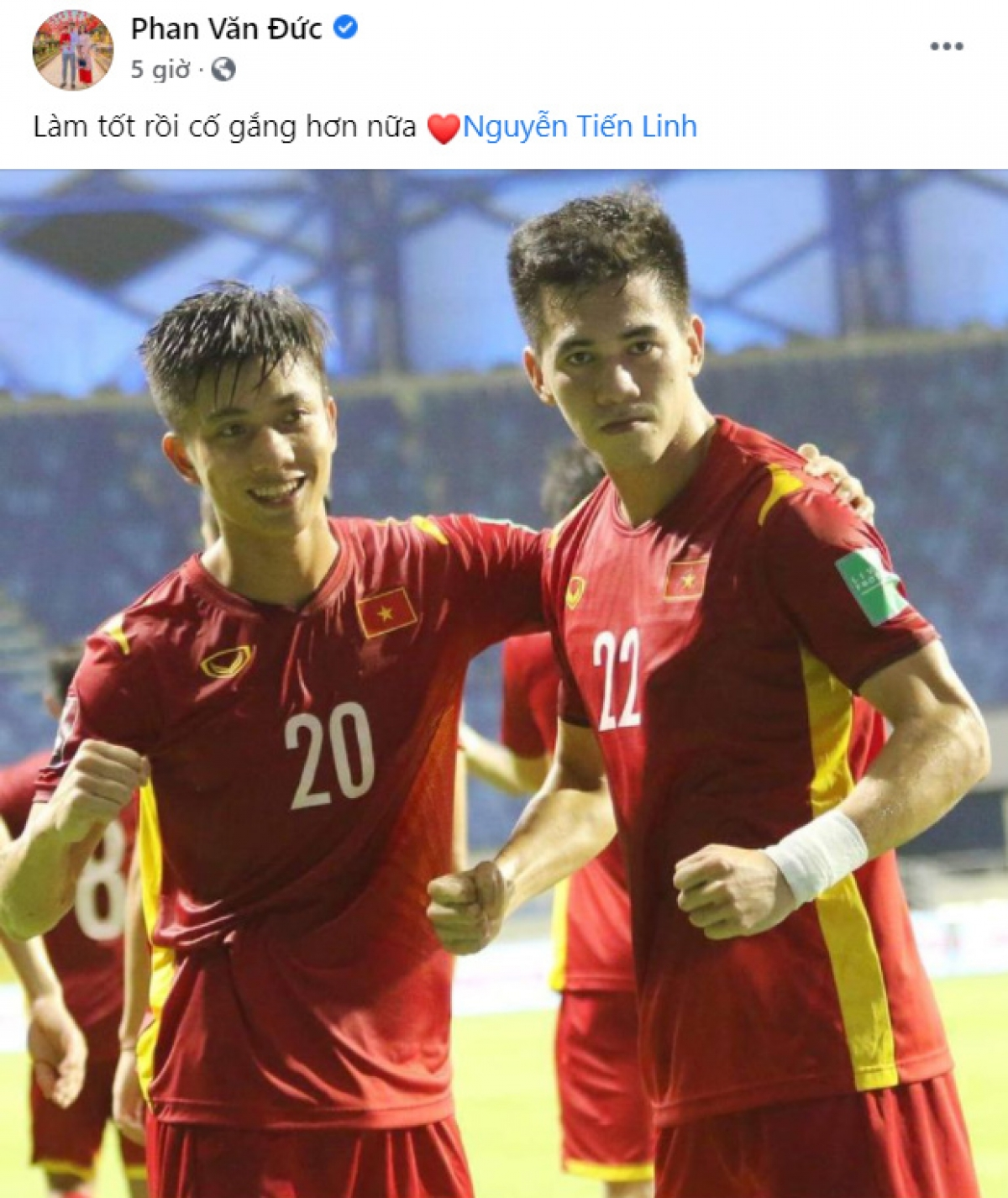 Phan Văn Đức quyết tâm thi đấu tốt hơn nữa cùng Tiến Linh.