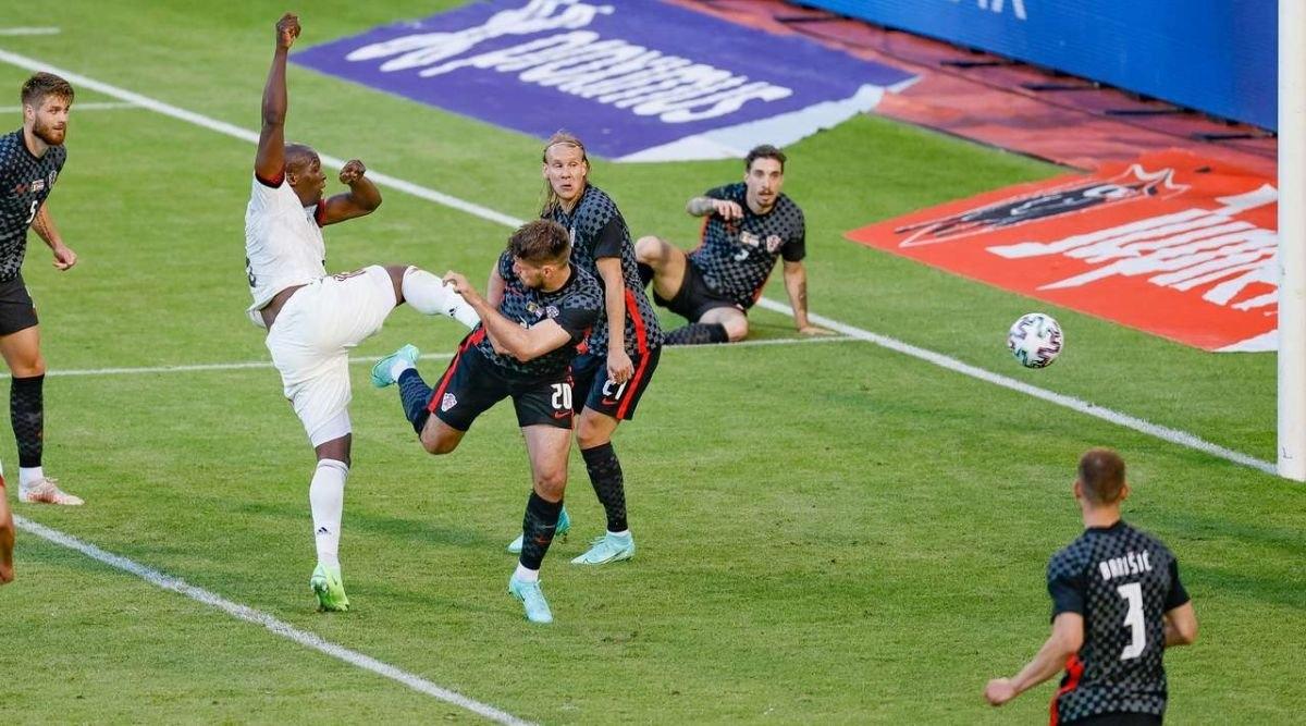 Lukaku xé lưới Croatia. (Ảnh: Getty)