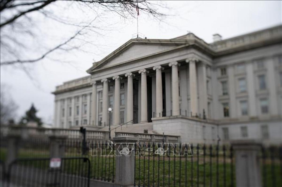 Trụ sở Bộ Tài chính Mỹ tại Washington D.C. Ảnh: THX/TTXVN