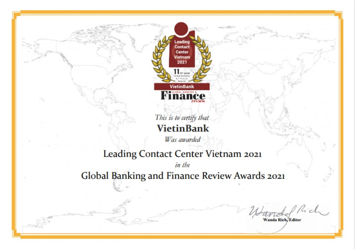 """Đây là lần thứ 4 liên tiếp VietinBank nhận giải thưởng """"Trung tâm Dịch vụ khách hàng dẫn đầu Việt Nam"""""""