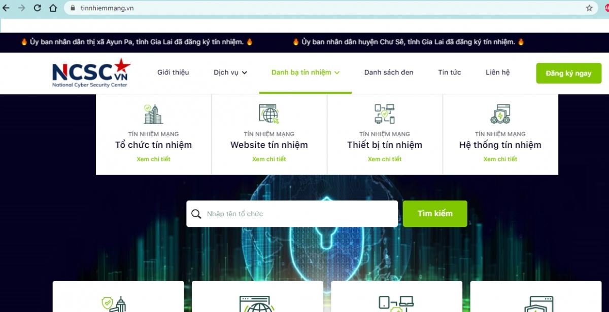 Hệ sinh thái Tín nhiệm mạng có thể giúp xác nhận thông tin chính thống của tổ chức trên Internet (Ảnh chụp màn hình)
