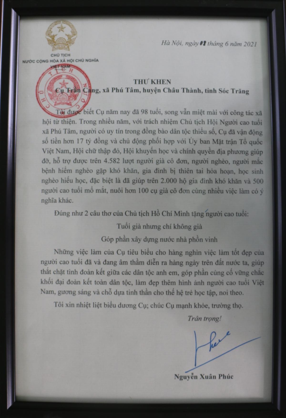 Chủ tịch nước Nguyễn Xuân Phúc gửi thư khen đến cụ Trần Cang.