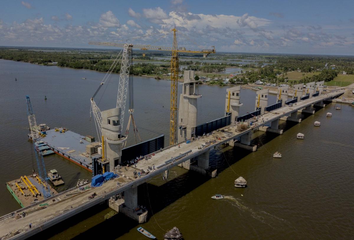 Cống Cái Lớn thuộc Dự án thủy lợi Cái Lớn - Cái Bé giai đoạn 1 có tổng vốn đầu tư trên 3.309 tỷ đồng