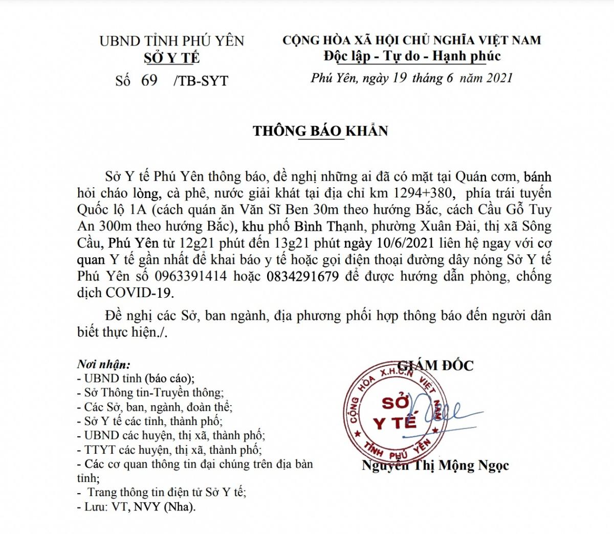 Công văn của Sở Y tế Phú Yên.