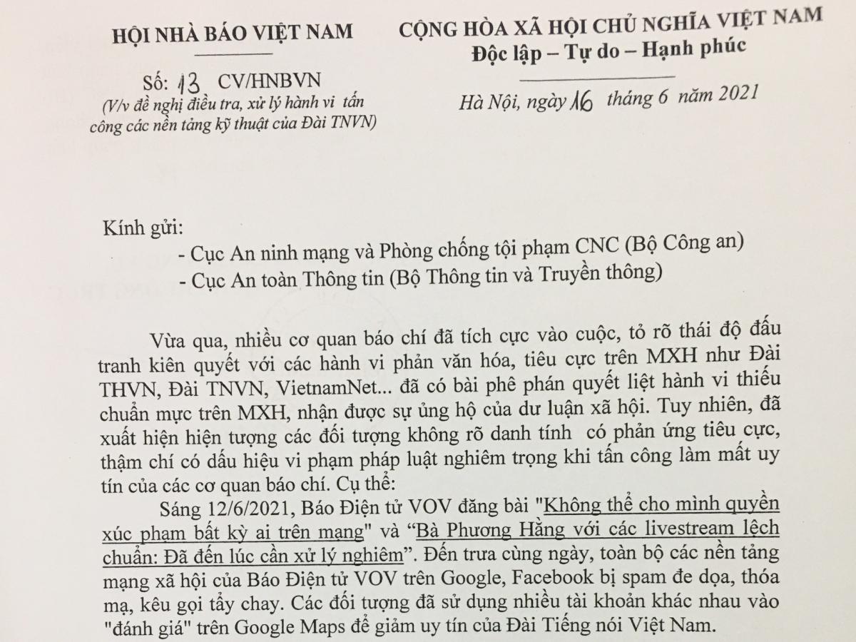 Công văn của Hội Nhà báo Việt Nam