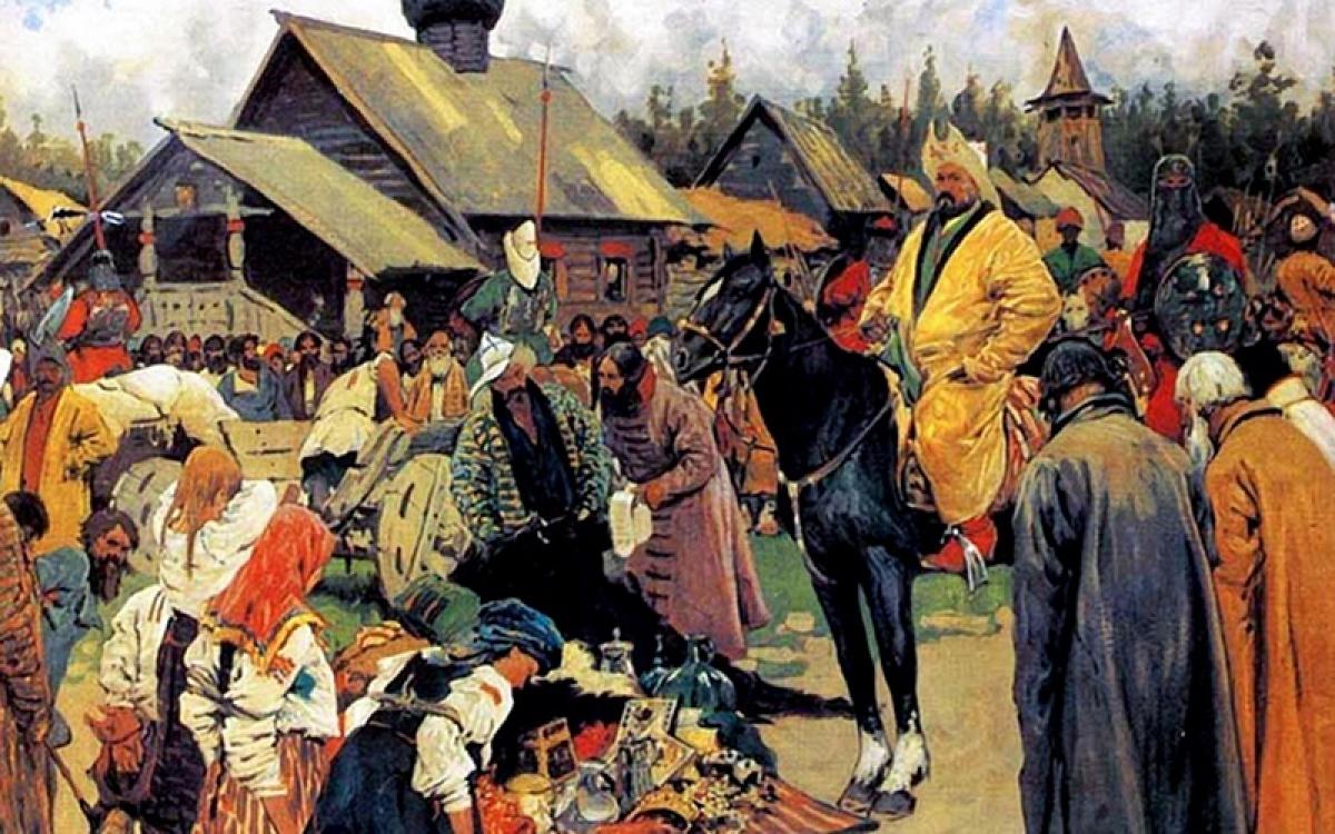 Dân Nga dưới ách cai trị của Mông Cổ. Tranh: Sergey Ivanov.