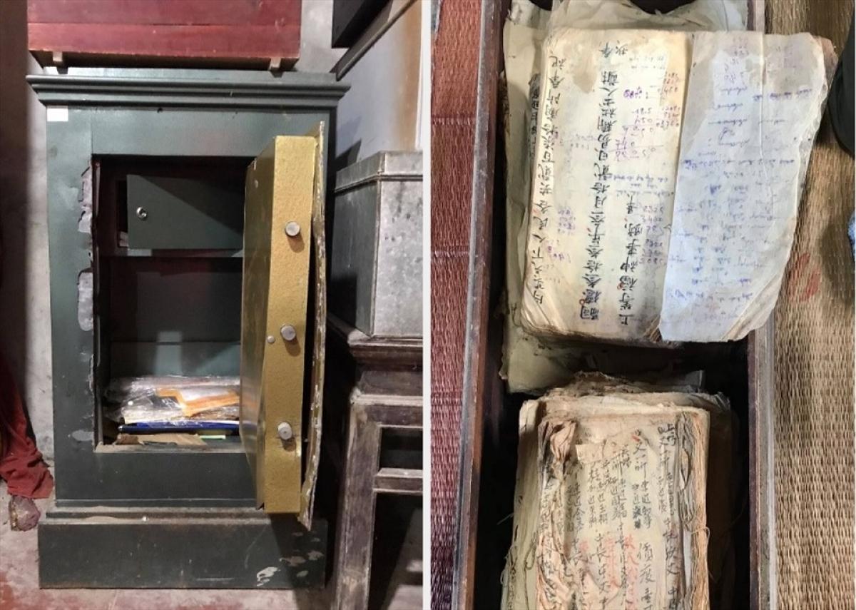 Chiếc két sắt đền Dị Nậu bị trộm phá và lấy đi nhiều sắc phong, tài liệu cổ.