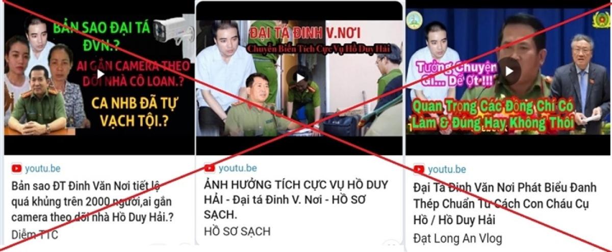 Các kênh YouTube mạo danh, cắt ghép hình ảnh và lời phát biểu của Đại tá Đinh Văn Nơi.