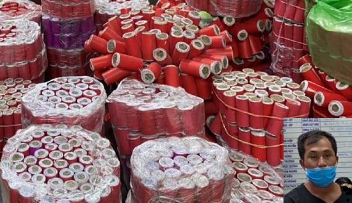 Vũ Văn Mạnh (ảnh nhỏ) bị bắt giữ về hành vi mua bán chất ma túy và tàng trữ hơn 337 kg pháo nổ.