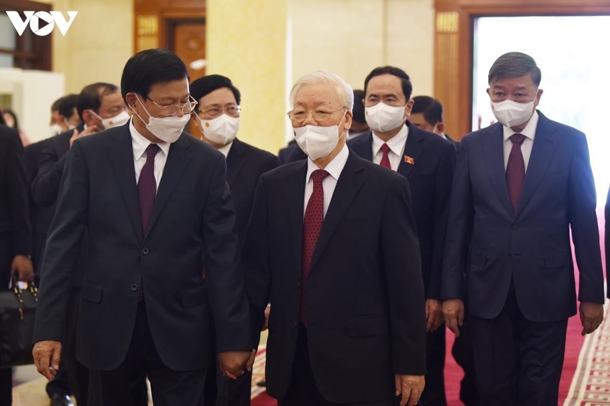 Tổng Bí thư Nguyễn Phú Trọng bày tỏ vui mừng khi Tổng Bí thư, Chủ tịch nước Lào -Thongloun Sisoulith cùng đoàn đại biểu cấp cao sang thăm và làm việc tại Việt Nam.