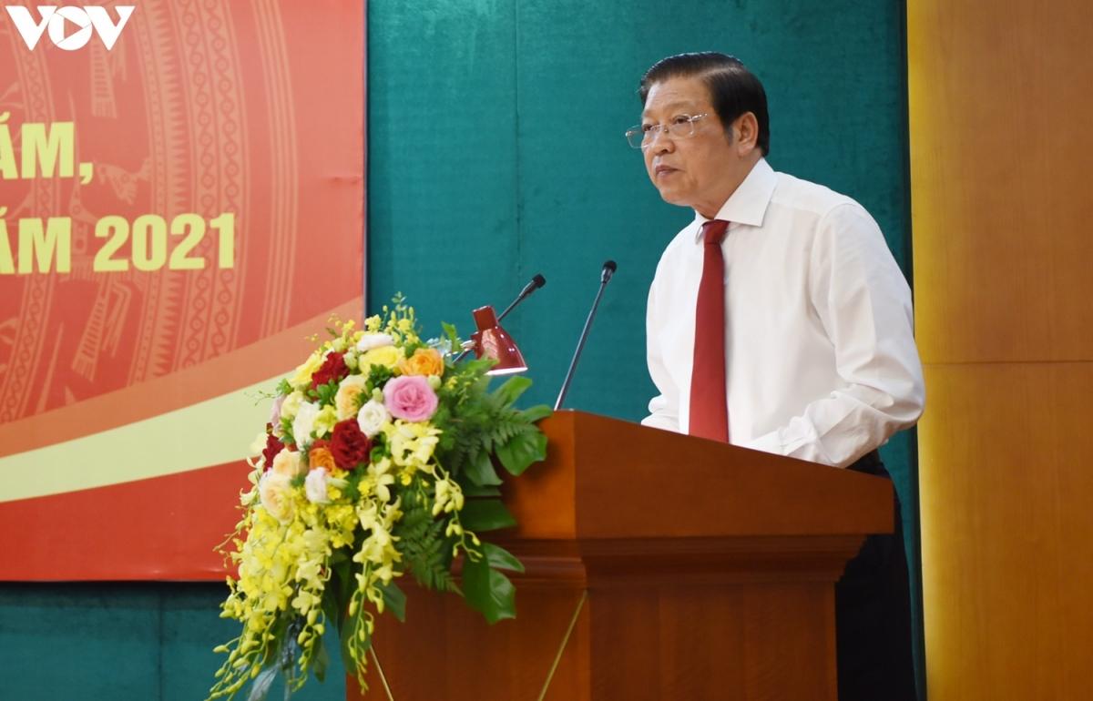 Trưởng Ban Nội chính Trung ương - Phan Đình Trạc phát biểu tại hội nghị. (Ảnh: Trọng Phú)