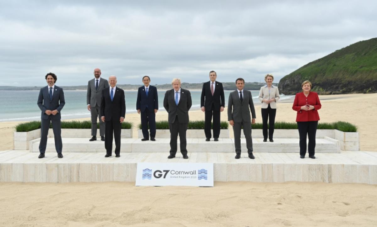 Các nhà lãnh đạo tham gia Hội nghị Thượng đỉnh G7. Ảnh: g7uk
